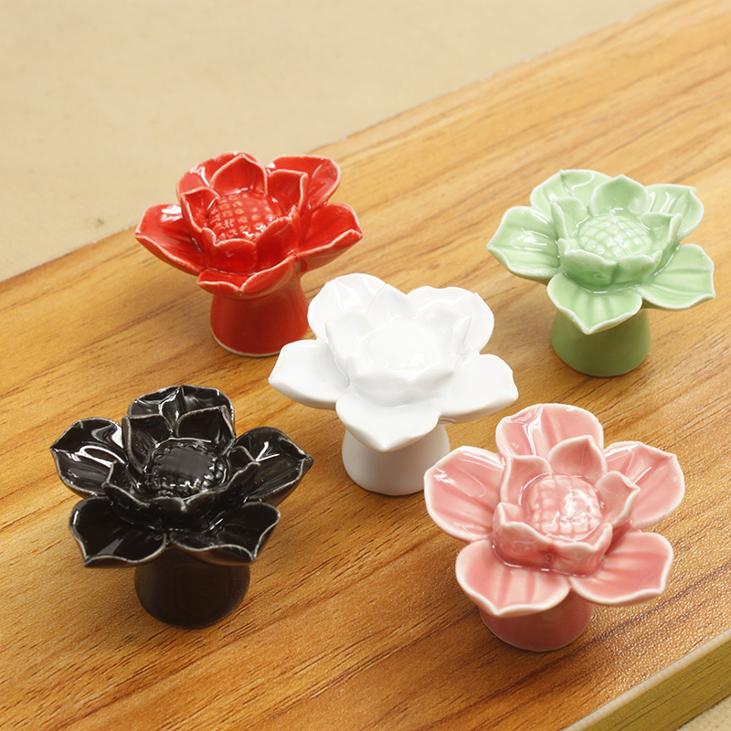 1pcs 5colors Furniture Handles Lotus Cabinet Knobs and Handles Ceramic Door Knob Cupboard Drawer Kitchen Pull Handle Home Decor 2016 ceramic bear furniture knobs kitchen door drawer cupboard wardrobe pull handle cabinet knobs and handles furniture fittings