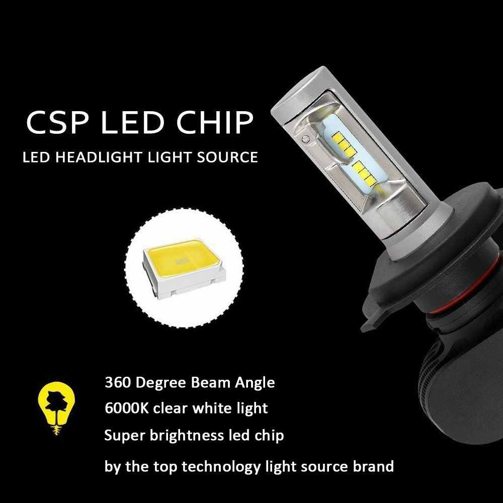 Roadsun 2 Pcs Car Headlight S1 H7 LED H4 H1 H3 H8 H11 H27 880 9004 9005 9006 9007 50W 8000LM Auto Headlamp 6500K Light Bulb