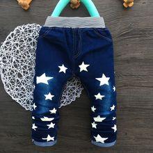 Boystrousers звезда прямо эластичный пояс джинсы мальчик печати весна осень брюки