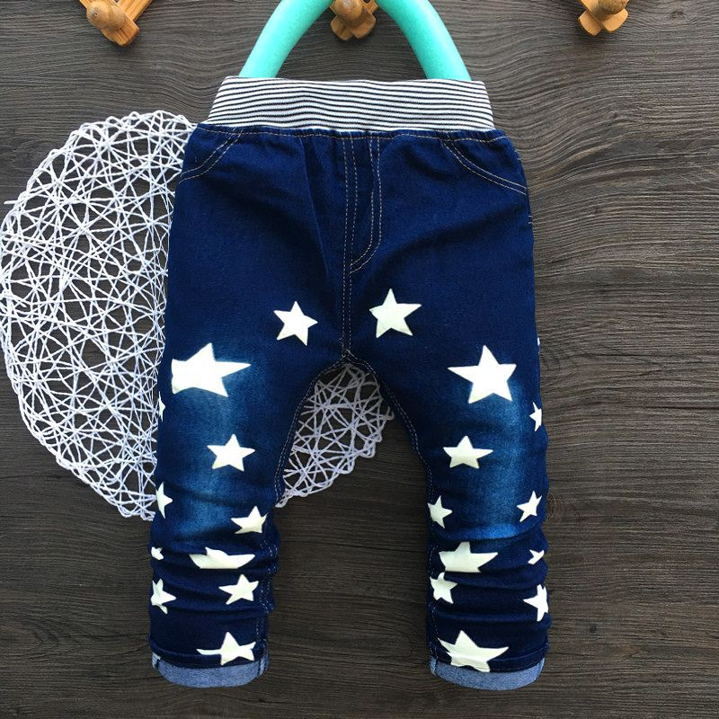 2018 New Fashion Children Boy Jeans Straight Star Print Kids Pants Spring Autumn Elastic Waist BoysTrousers High Quality high waist jeans rushed cotton zipper fly high plaid loose 2016 korean women summer new straight scraping hole cutoff jeans
