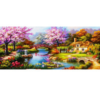 New Trends Full Embroidery Landscape 5D DIY Diamond Painting Cross Stitch Dream House Diamonds Wall Stickers