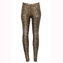 2017 Digital Printed Golden Ladies Sportwear Trousers High Waist Slim Women Fashion Casual Workout Stretchy Long Leggings WL083