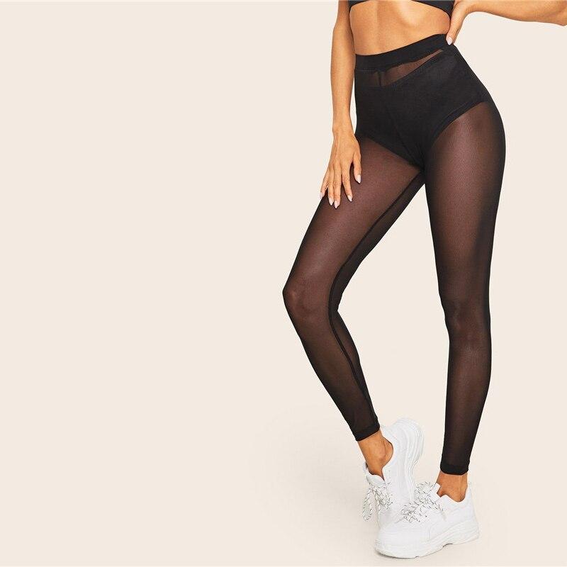 SHEIN Lady Sheer Mesh Sexy Leggings Without Panty Spring Summer Soild Mid Waist Women Leggings Going Out Black Leggings 27