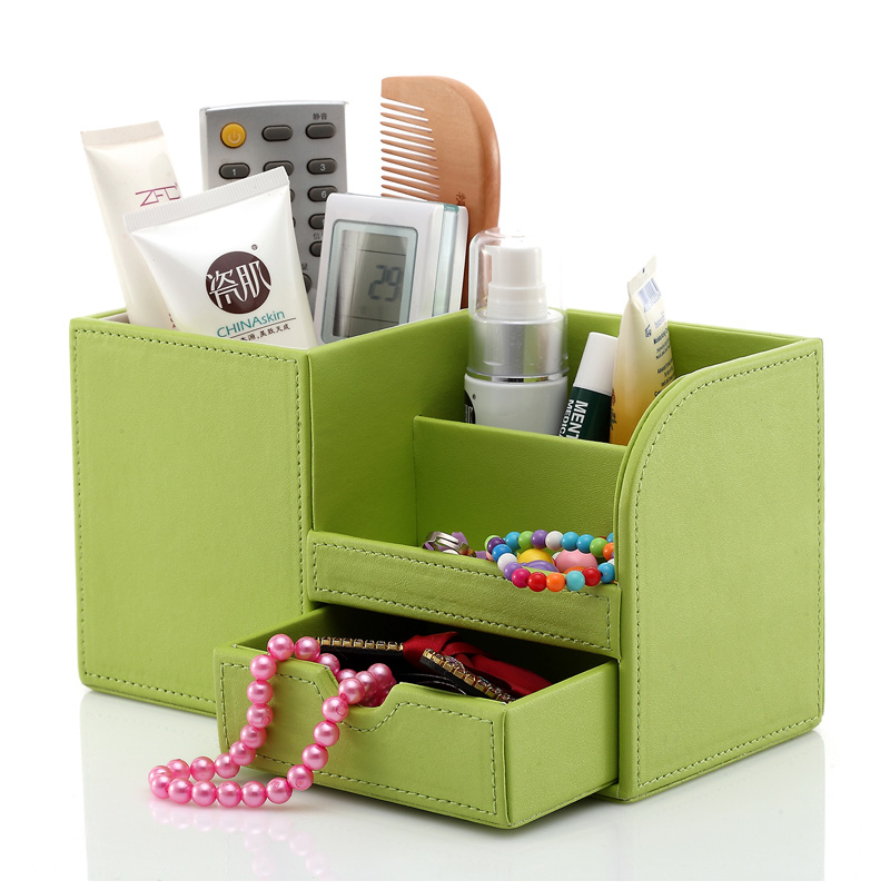 Wooden Pu Leather Multi Functional Desk Stationery Organizer Storage Box Pen Pencil Box Holder Case