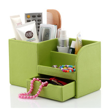 Wooden PU leather Multi-Functional Desk Stationery Organizer Storage Box Pen Pencil Box Holder Case все цены