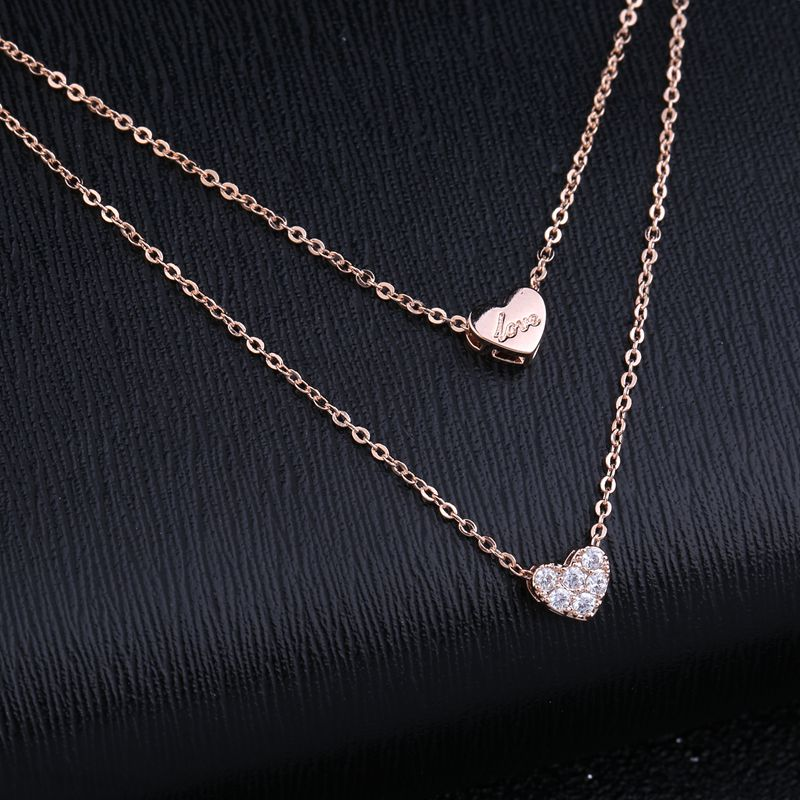 MIGGA Romantic Love Gift Cubic Zircon Crystal Heart Necklace Rose Gold Color Double Layers Choker Chain