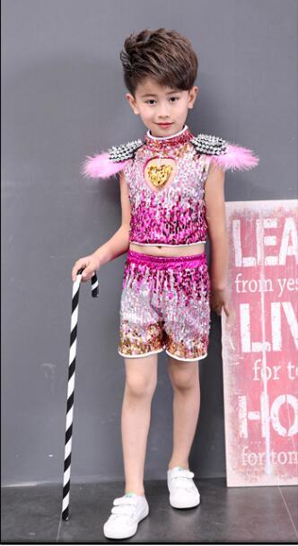 Детская одежда с блестками для бальных танцев, джаз, хип-хоп, сценическая одежда, костюмы для выступлений, одежда, топ, рубашка, шорты, сценическая одежда для мальчиков и девочек, танцевальные костюмы - Цвет: Цвет: желтый