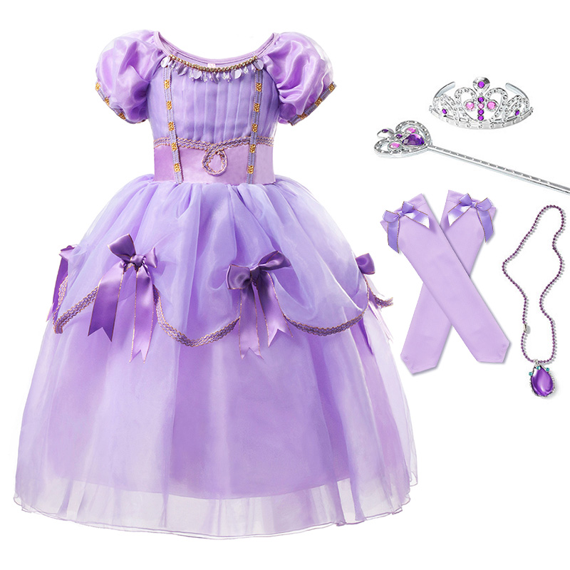 Deluxe Princess Sofia Dress Cosplay Costumes for Girl Bow Layered Dresses Kids Carnival Party Rapunzel Costume Fancy Clothing