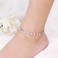 1PC Hot Summer Punk Triangle Paillettes Women Lady Girl Trendy Anklets Chain Jewery Golden Silvery Beach Foot Anklet Gift