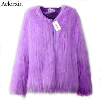 2019 Faux Fur Coat Winter Women Fluffy Thick Warm Purple Fur Coat Long Sleeve Faux Fur Coats Hairy Overcoat Black Jacket loozykit elegant faux fur coat women 2019 autumn winter thick warm soft teddy coats faux fleece jacket pocket zipper outerwear
