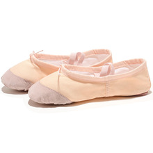 USHINE EU22-45 Leather Head Yoga Slippers Teacher Gym Indoor Exercise Canvas White Red Dance Shoes For Kids Girls Woman