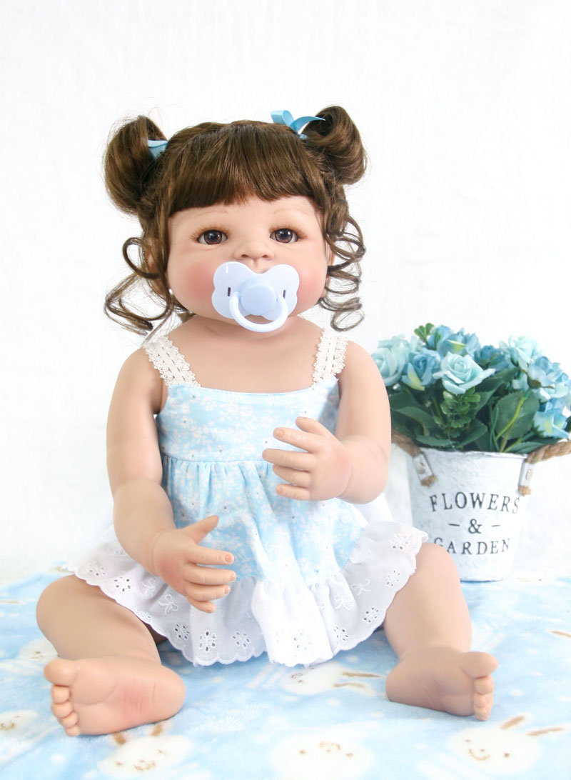 55cm Full Body Silicone Reborn Baby Doll Toys For Girls Bonecas 22inch Vinyl Newborn Princess Bebe Alive Babies Birthday Gift 55cm silicone reborn baby doll toys 22inch vinyl newborn handsome boy babies dolls birthday xmas gift girls brinquedos bonecas