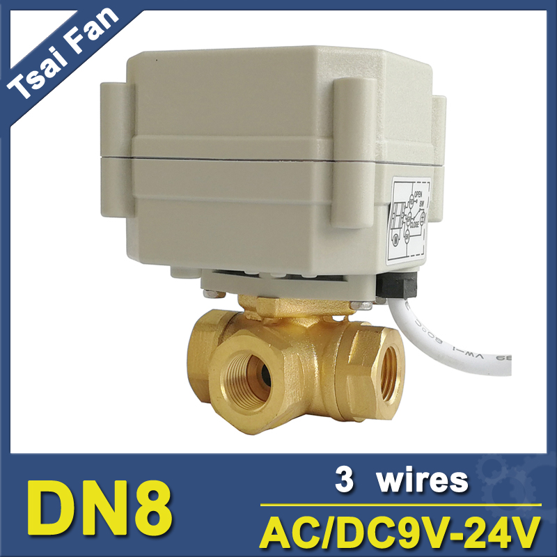 TF8-BH3-A 9V 12V 24V 3 Wires T/L Type 3 Way Horizontal Motorized Ball Valve Brass 1/4'' DN8 For Water Heating/Cooling new arrival dn8 brass electric ball valve switch type 2 way three wires control valve