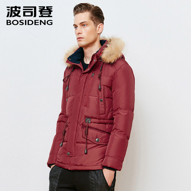 BOSIDENG men down coat regular top winter thick warm down jacket real raccoon fur high quality smart casual wear B1501075