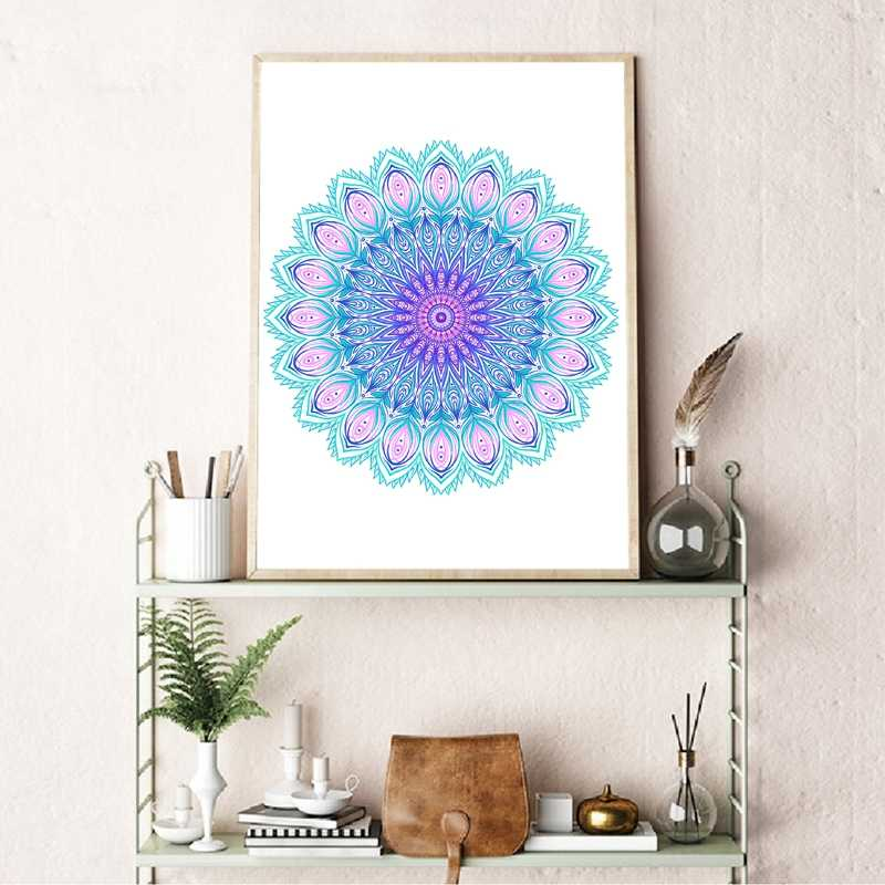 Mandala Print Beautiful Vintage Round Pattern Poster Home Wall Art Canvas Painting Peacock Feather Wall Picture Wedding Decor