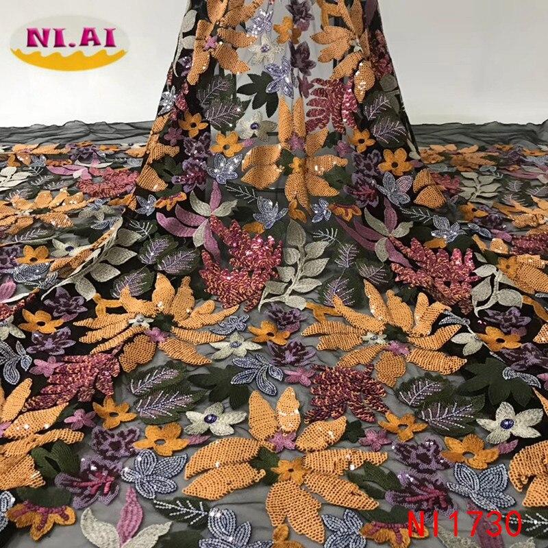 Afryki cekiny koronki tkaniny 2019 koronka wysokiej jakości francuski Tulle koronki materiał kolorowe nigeryjczyk koronki tkaniny na wesele NI1730 w Koronka od Dom i ogród na  Grupa 1