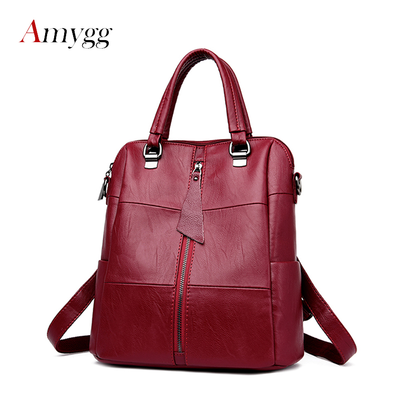 Women Multifunction Backpack Genuine Leather Casual Shoulder Bag Large Capacity Backbag Female Zipper School Bag Travel Bag amasie shoulder bag women s bag genuine leather large capacity fashion backbag leisure bag for girl wed0016