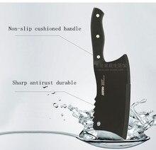 Envío Gratis Negro de Acero de Tungsteno de Cocina Cocinero Chuleta cuchillo de Hueso y Carne de Corte Dual-puse antiadherente Cuchillo Rebanador vegetales Cuchillo de la Cuchilla