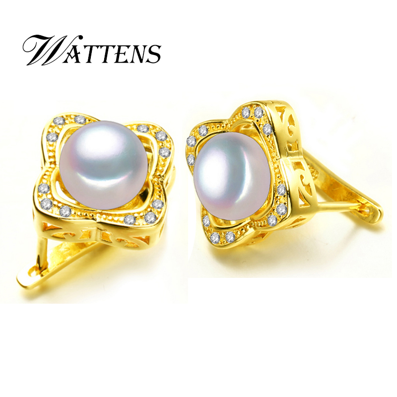 Wattens For Love Clical Pattern Design Pearl Stud Earrings Genuine Jewelry New Punk Women Gift Box In From