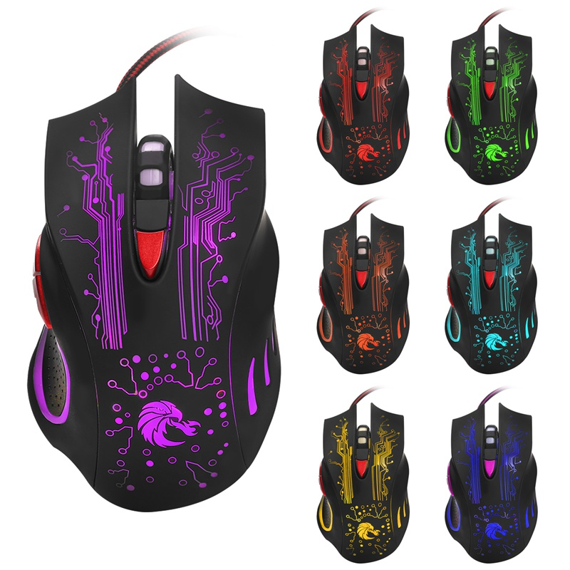 Wired Optical Mouse LED Backlit Gaming Mouse PC Mice Adjustable 5500DPI 6 Buttons USB Computer Mouse for Laptop Gamer