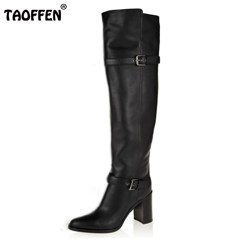 TAOFFEN Size 31-45 Women Real Genuine Leather High Heel Over Knee Boots Long Boot Winter Botas Militares Footwear Shoes R5391 size 30 45 women real genuine leather flat over knee boots long boot warm winter botas mujer brand footwear heels shoes r7761