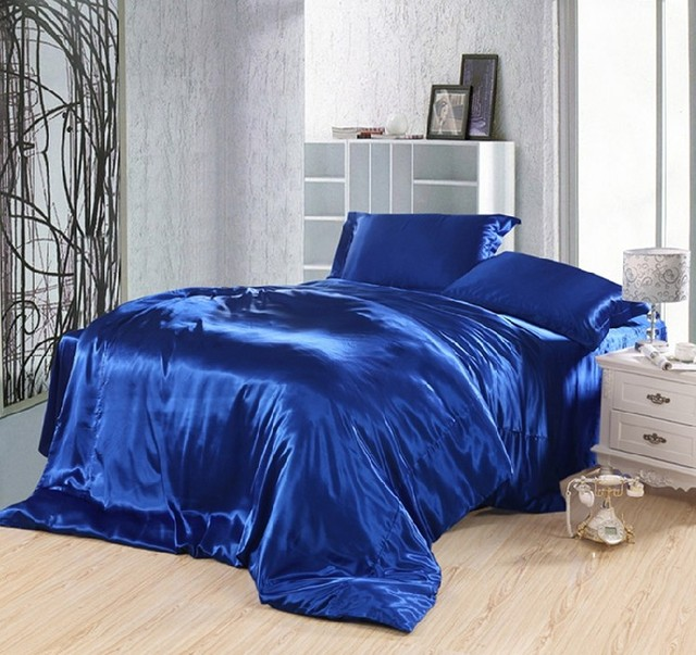 Royal blue bedding set silk fitted bed sheets satin super king