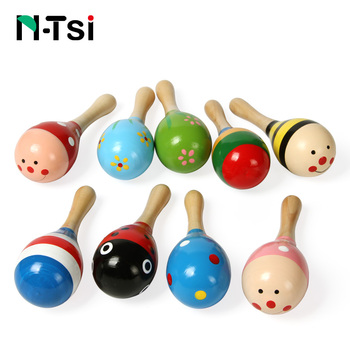 N-Tsi Baby Wooden Hammer Rattle Toys Kids Musical Instruments Child Shaker Cute Colorful Toys for Children Toddlers Preschooler