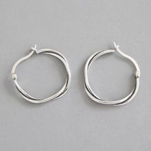 цена HFYK 925 Sterling Silver Earrings Vintage Round Circle Hoop Earrings For Women Black Silver Earrings boucle d'oreille femme Gift