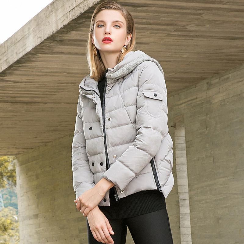 Solid hooded slim straight short white duck   down     coats   2018 new women winter zipper   down     coats