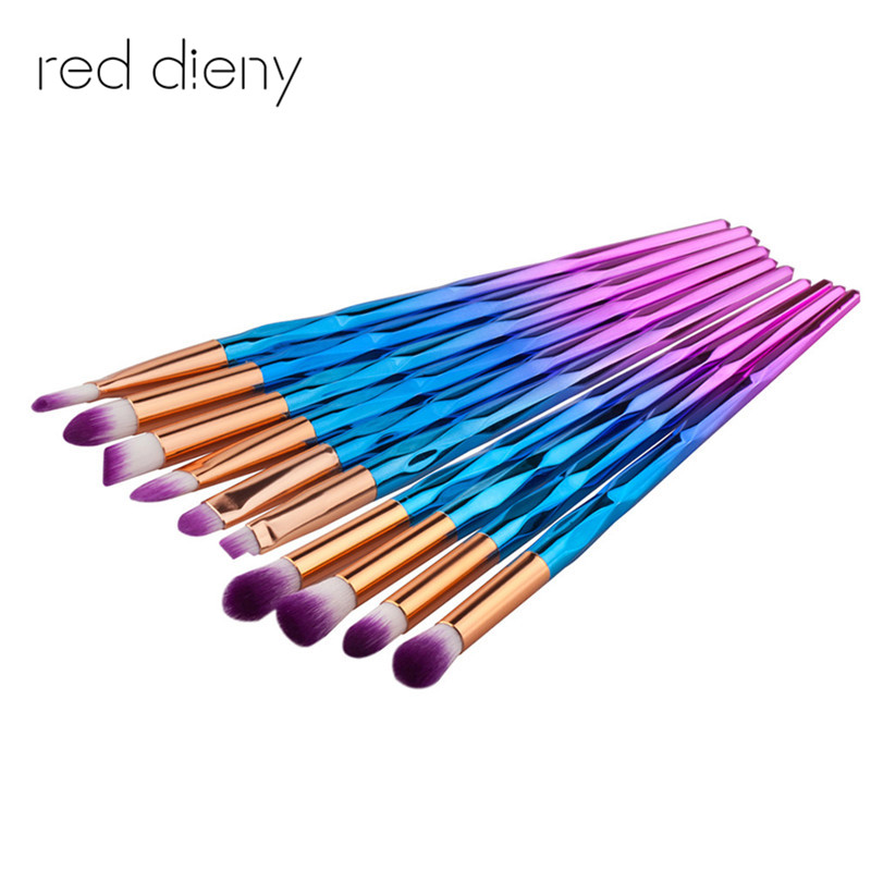 Makeup Brush Rainbow Pędzle do makijażu Zestaw 10szt. Rhinestone Tools Pro Powder Foundation Eye Lip Concealer Face colrful Brush Kit
