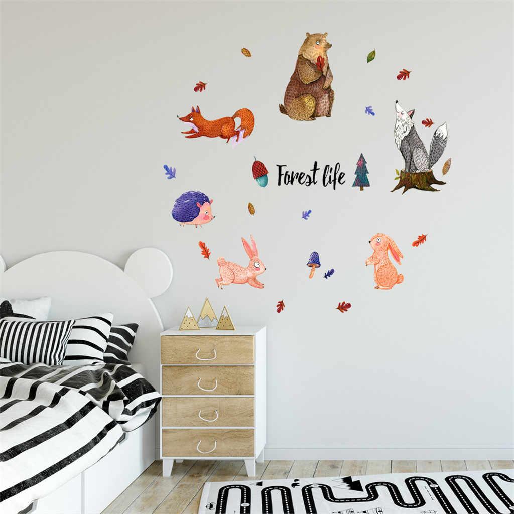 KAKUDER милый животный узор DIY мультяшная Наклейка на стену для детской комнаты, гостиной, домашнего декора, художественный плакат, детское украшение, настенные наклейки