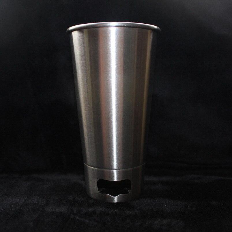 500 ML 304 Tazze In Acciaio Inox Con apribottiglie Succo Di Birra Porzione di vetro Tazze 16 oz Bicchiere Pinta In Metallo Da Cucina Bar Grande bere-in Tazze da Casa e giardino su  Gruppo 1