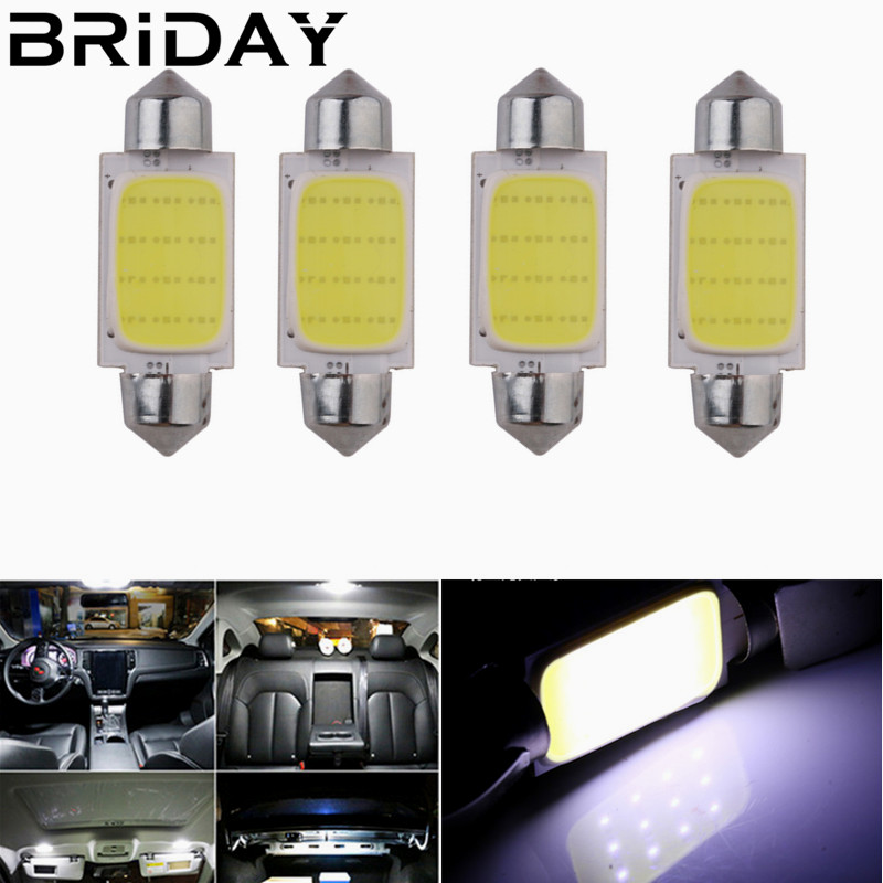 4pcs Festoon 31mm 36mm 39mm 41mm COB led Car Bulb C5W C10W White Color LED Dome Map Reading Light Interior lamp car styling 12V g4 3w 280lm 3000k ac 12v led cob car bulb cabinet dome light soft white