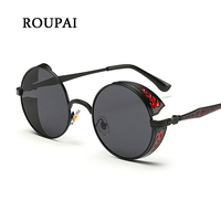 ROUPAI Luxury Brand Steampunk Eyewear Round Glasses Sunglasses Women Polarized UV400 High Quality Retro Vintage Sun