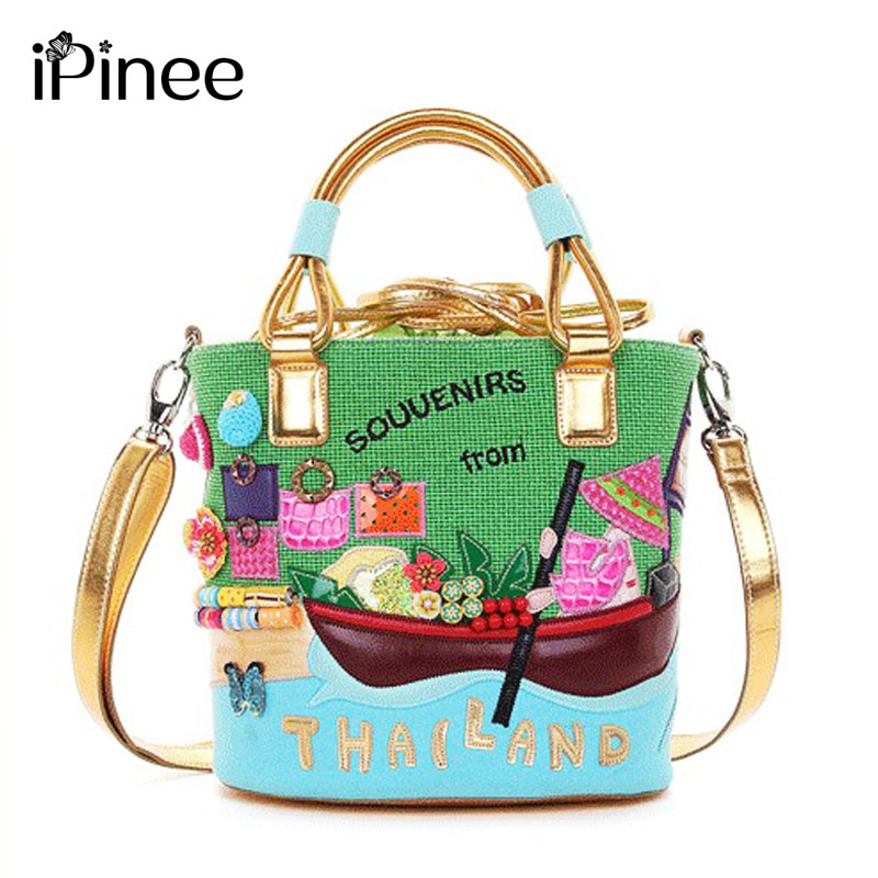iPinee New Arrival Fashion Women Bags Brand Drawstring Bucket Shoulder Bag Cartoon Design Ladies Hand Bags ipinee new arrival fashion female house design hand bags beach crossbody bag cartoon handbags for women