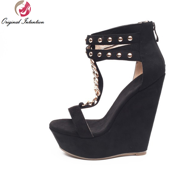 ФОТО Original Intention Super Sexy Women Sandals Popular Chains Wedges Sandals Fashion Black Shoes Woman US Size 4-15
