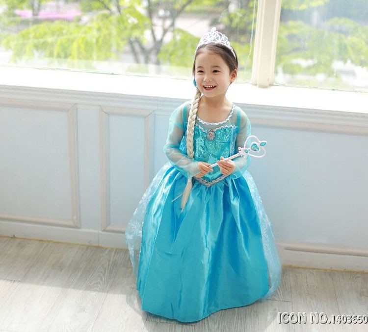 Hot Sell Elsa Anaa Girls Princess Children Dress Party Fantasia Vestidos Infants Dresses Summer Baby Kids Custom Dresses Brazil girls dresses 2017 hot sell girl fashion