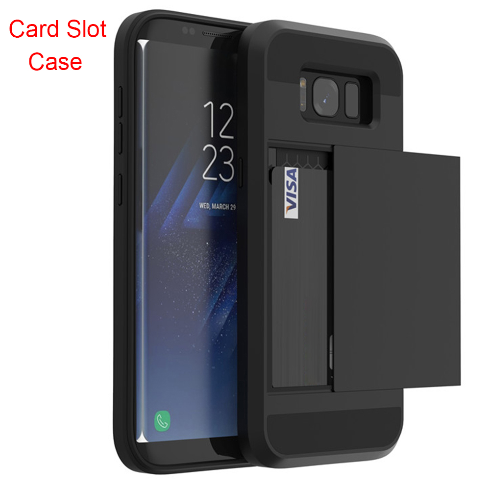 Card-Slot-Case Cases Slide Armor Samsung S7 Plus For Galaxy A3 A5 A7 J3 J5 J7 S8 S6