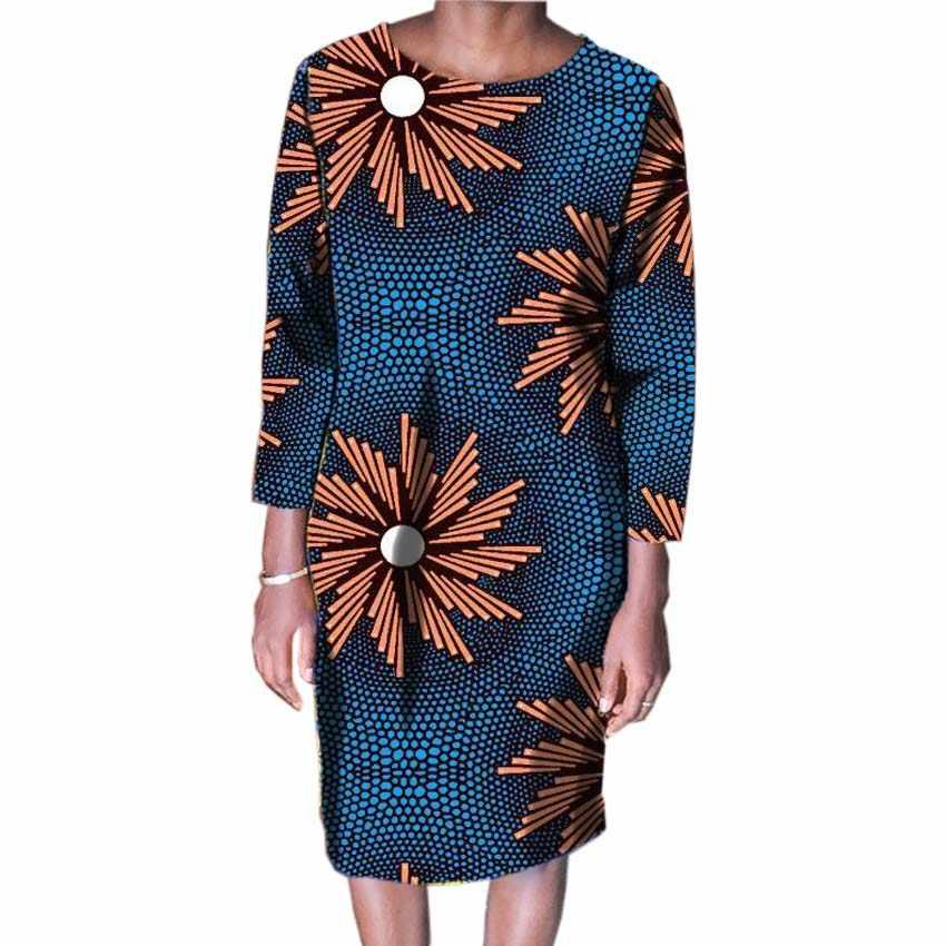 2018 Mulheres Da Moda Vestidos de Impressão Africano Africano Festivo Traje Feito Dashiki Impresso Vestidos Das Senhoras Das Mulheres Vestuário Personalizado