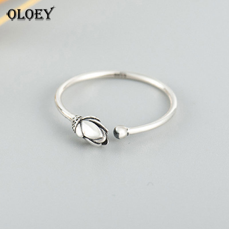 OLOEY Genuine 925 Sterling Silver Open Rings For Women Ladies Vintage Lotus Flower Adjustable Finger Ring Fine Jewelry YMR383