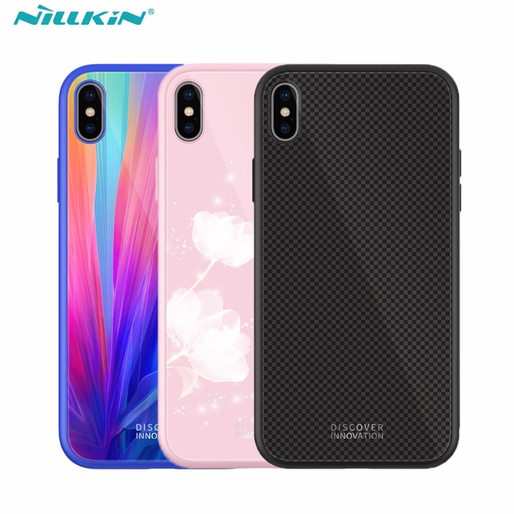 Nillkin temperado caso xadrez para iphone xs max x xr tpu macio borda + voltar vidro temperado material capa protetora