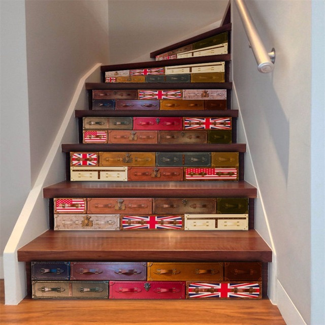 Yanqiao British Suitcase Pattern 3D Stair Sticker Stair Risers Decoration  DIY Home Decal Easy To Install