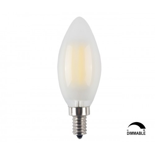 LED E12 6W Dimmable Filament Candle Light Bulb,4000K Daylight (Neutral White) 600LM,E12 Candelabra Base Lamp C35 Bullet Top,Fros