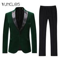YUNCLOS 2019 New Arrival Men Suits Green Velvet 2 Pieces Suit Set Shawl Collar Groomsman Wedding Suits Tuxedo Party Dress