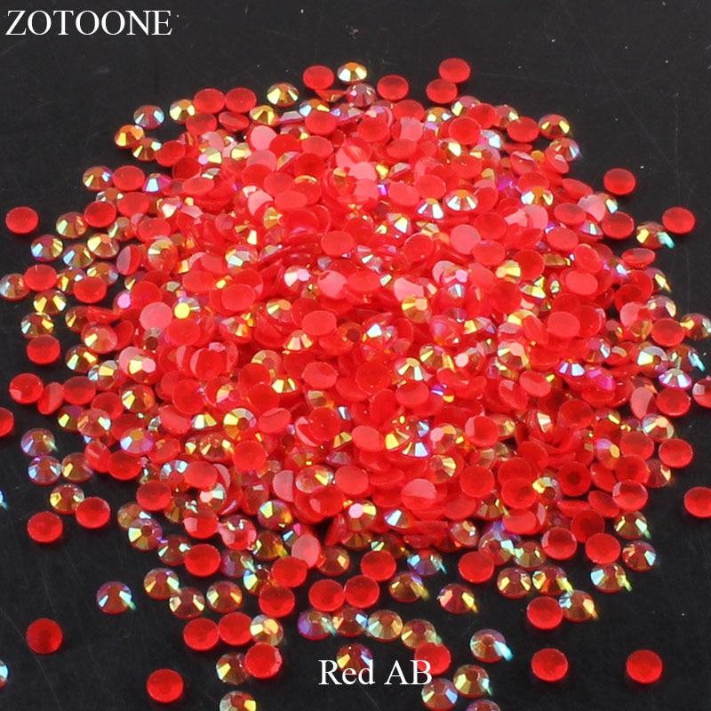 ZOTOONE 2-6 мм 1000 шт прозрачные Стразы AB без горячей фиксации плоские с оборота Стразы для ногтей для одежды ногти 3D дизайн ногтей украшения - Цвет: Red AB
