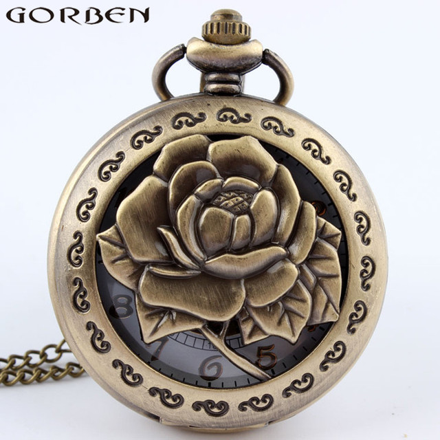 Bronze Rose Exquisite Antique Quartz Pocket Watch Trendy Design Hollow Pocket Wa