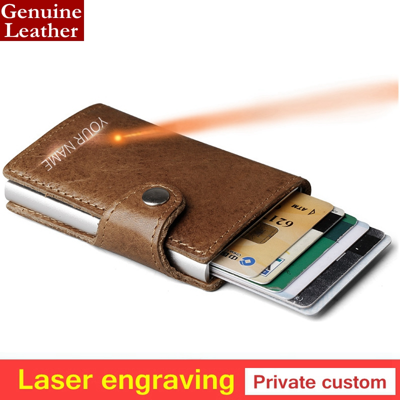 Laser engraving 100% Genuine Leather Aluminum Wallet Pocket ID Card holder RFID Blocking Mini Wallet Automatic Credit Card purse