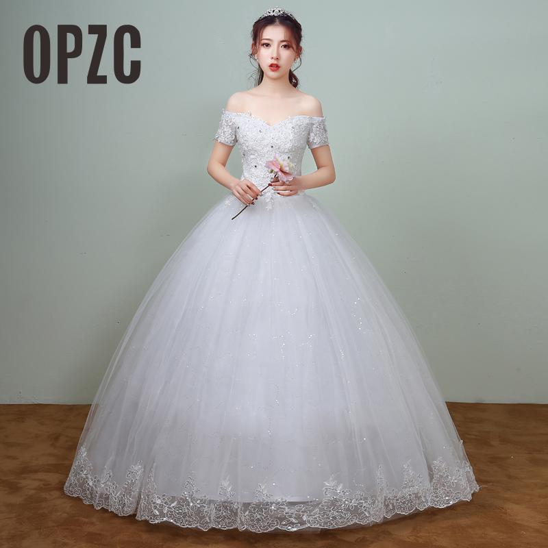New Arrival Spring White Lace Sleeve Wedding Dress 2018 Korean Style Appliques vestidos de noiva Sexy Boat Neck Bridal Dress
