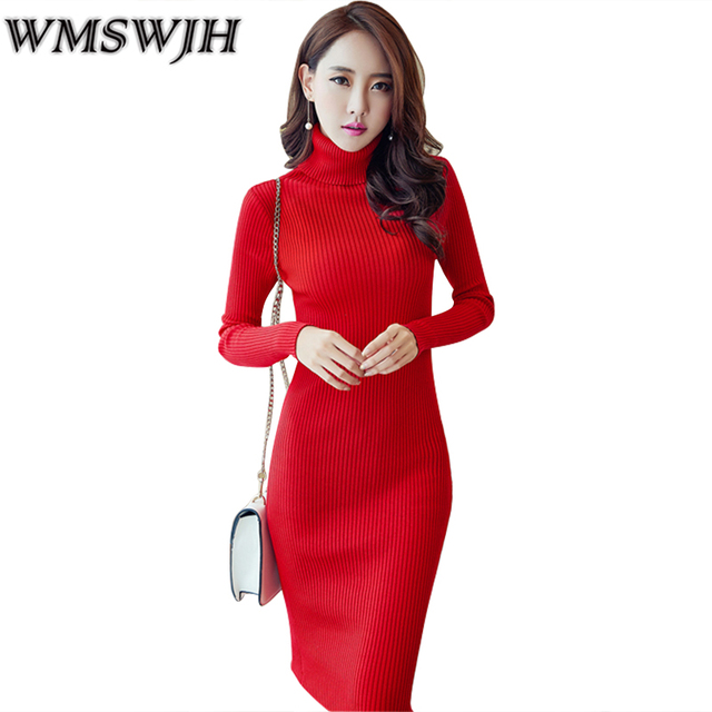 Wmswjh Women Winter Autumn Elegant Dresses 2018 Casual Turtleneck Long Sleeve Dress Slim Sweater Knitted Pencil Dress vestidos