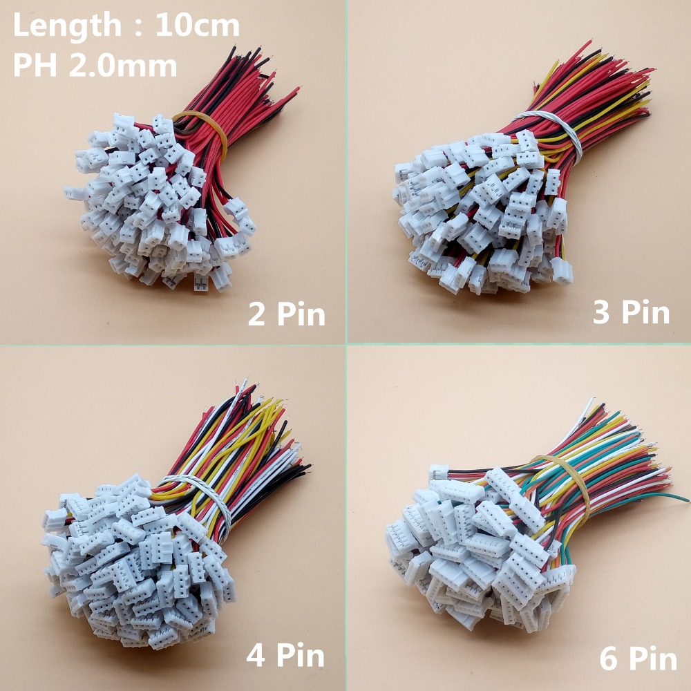 100pcs Micro JST Mini PH 2.0 2/3/4/5/6/7/8/9/10/12-Pin Connector Plug with Wires Cables 100MM 26AWG 20pcs lot 26awg jst xh2 54 2 3 4 5 6 7 8 9 10 pin pitch 2 54mm connector plug wire cable 30cm length